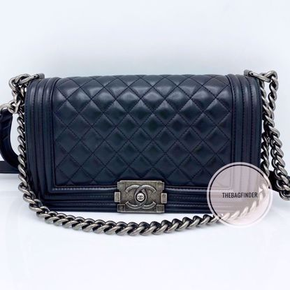 Picture of Chanel Le Boy Old Medium Black Lambskin