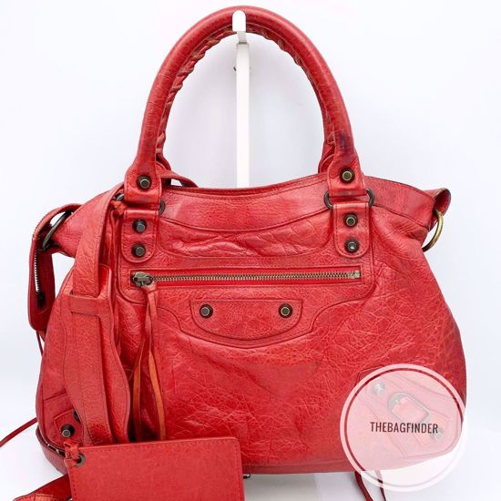 Picture of Balenciaga Town Red Lambskin